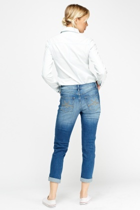 Patched Washed Denim Jeans