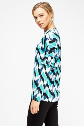 Printed Fared Sleeve Top