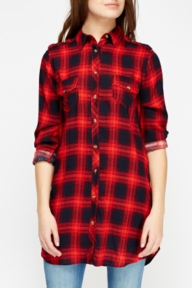 Check Print Long Shirt