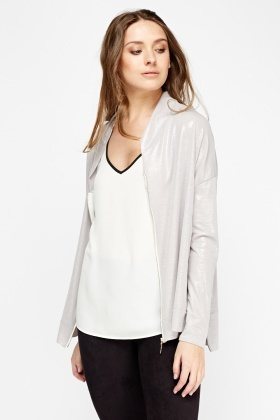 Metallic Zipped Lightweight Jacket