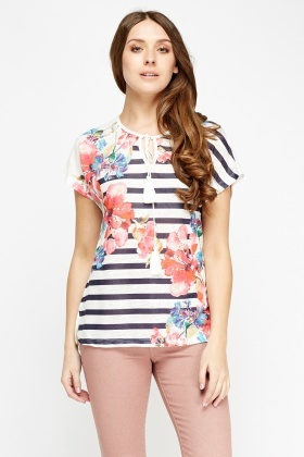 Mixed Print Tie up Neck Top