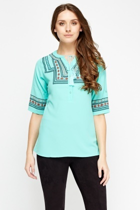 Mixed Print Tunic Top