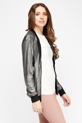 Pleated Metallic Lightweight Bomber Jacket