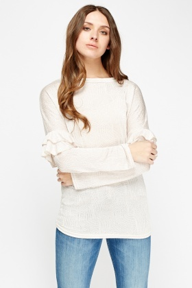 Thin Loose Knit Flare Long Sleeve Top