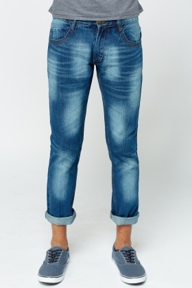 Washed Denim Jeans