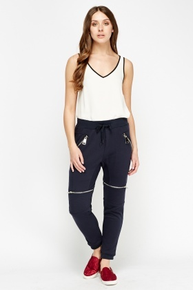 Zipped Quilted Jogger Pants