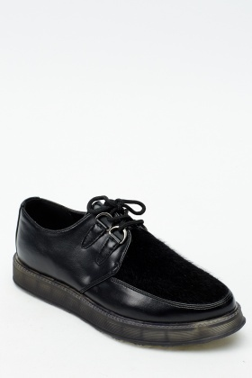 Contrast Faux Leather Brogue