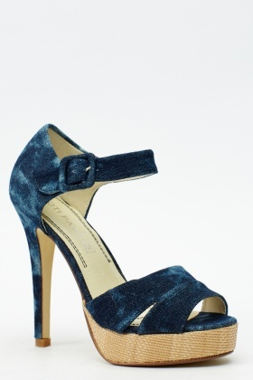 Contrast Open Toe Heeled Sandals