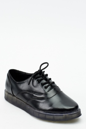 Faux Leather Flatform Brogues