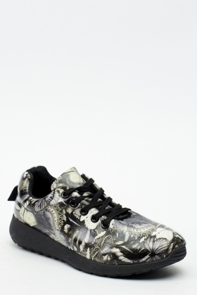 Faux Leather Mix Print Trainers
