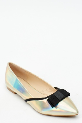 Holographic Court Ballet Pumps