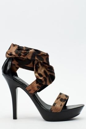 Leopard Print Strappy Sandal Heel - Just $6