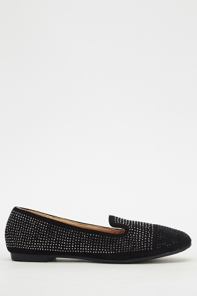 Two Tone Encrusted Ballerines