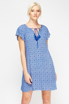 Blue Printed Tunic Dress