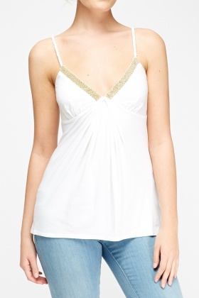 Encrusted Detail White Top