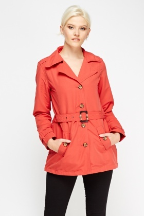 Lapel Front Belted Trench Coat
