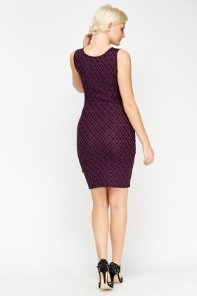 Printed Purple Bodycon Dress
