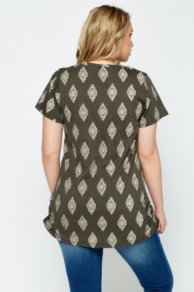 Ruched Side Printed Top