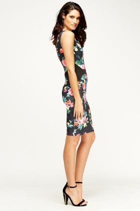 Contrast Trim Floral Bodycon Dress