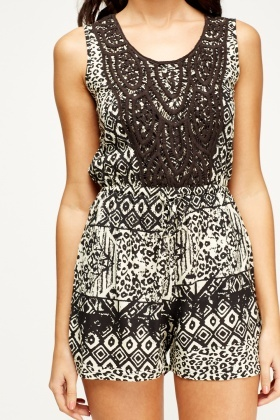 Crochet Overlay Geo Playsuit