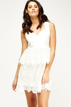 Crochet Trim Peplum Dress
