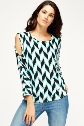 Cut Out Shoulder Geo Print Top