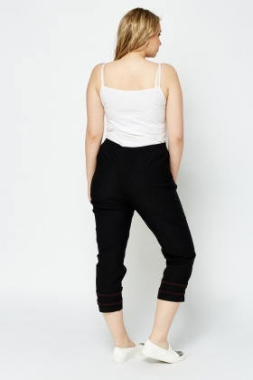 Detailed Hem Cropped Trousers