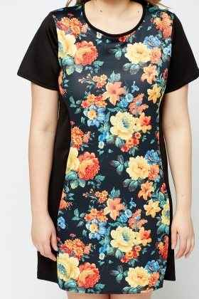 Floral Printed Front Panel Dress