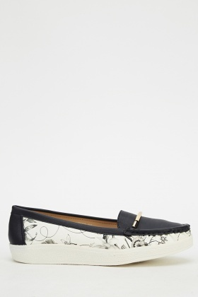 Contrast Floral Loafers