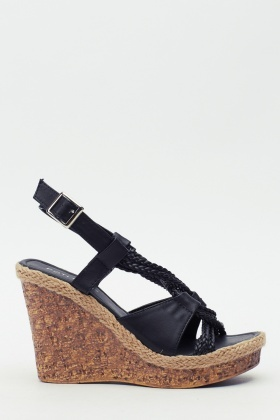 Cork Contrast Sandal Wedge