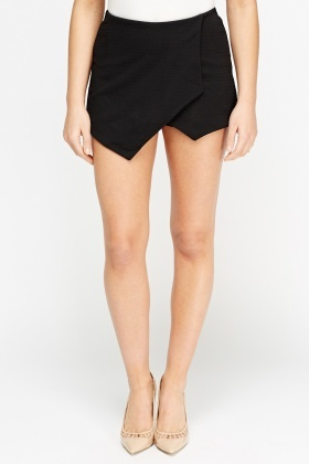 Black Textured Mini Skort Skirt