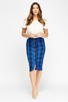 Checked Zipped Midi Skirt