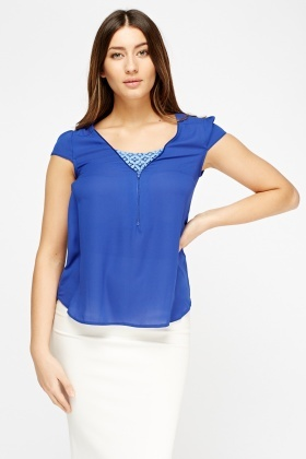 Mesh Insert Zipped Front Top