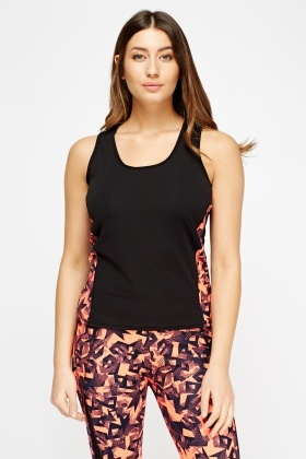 Mixed Print Side Sport Top