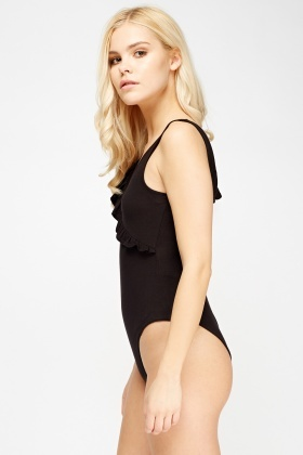Black Frilled Bodysuit