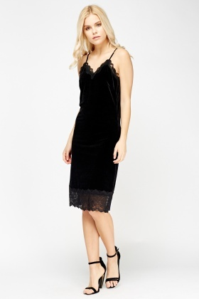 Velveteen Lace Trim Dress