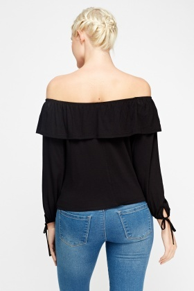 Black Flared Off Shoulder Top