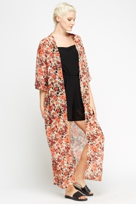 Floral Long Sheer Cover Up