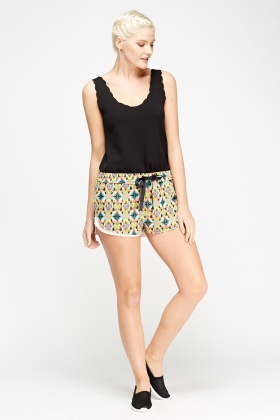 Flower Overlay Elasticated Shorts