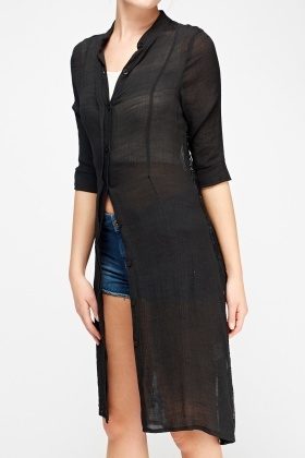 Mesh Back Long Line Cardigan