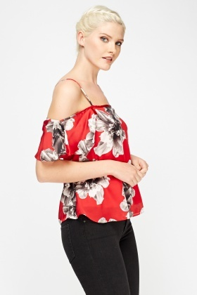 Red Floral Cold Shoulder Cami Top