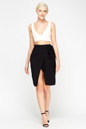 Wrap Tie Up Midi Skirt