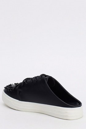 Embellished Faux Leather Laced Slip On Trainers