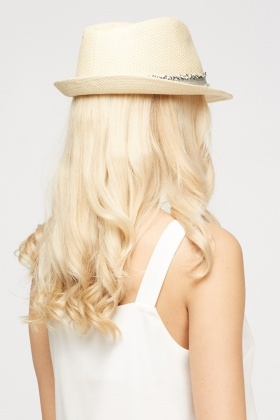 Frayed Trim Fedora Hat