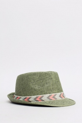 Printed Trim Fedora Hats