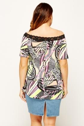 Aztec Print Off Shoulder Top