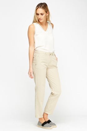 Beige Straight Leg Trousers