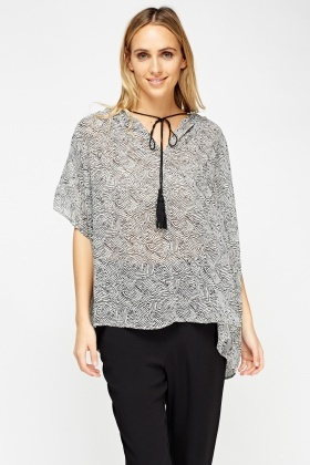 Box Tie Up Neck Sheer Top