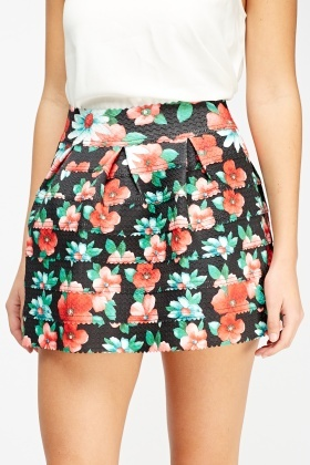 Floral Mini Box Pleat Skirt