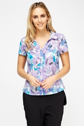 Frilled Printed Shirt